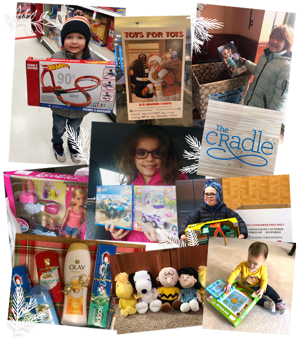 collage of children posing with donated toys