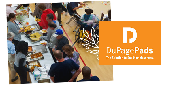 collage of dupage pads logo and a shot from a community meal event