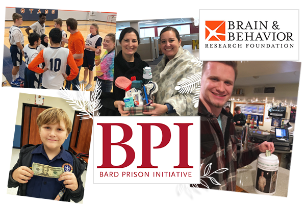 collage of images of people donating to the community and logos for brain & behavior research foundation and Bard Prison Initiative