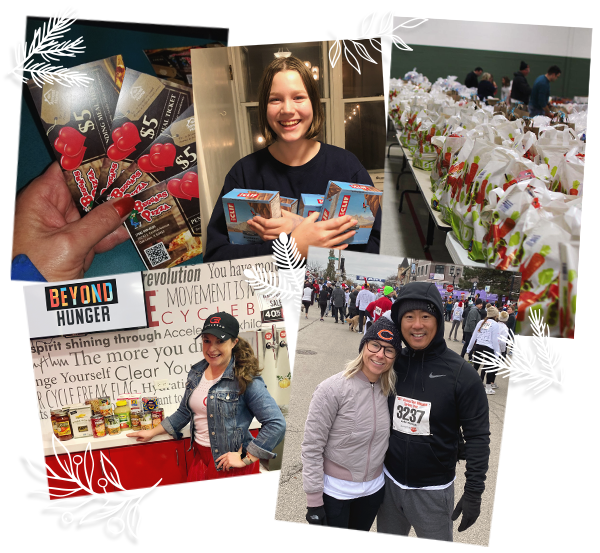 collage of food donations and running races to raise money for food