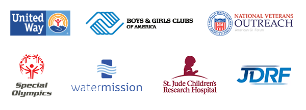 logos of united way, boys and girls clubs of america, national veterans outreach, special olympics, watermission, st jude children's research hospital, and JDRF