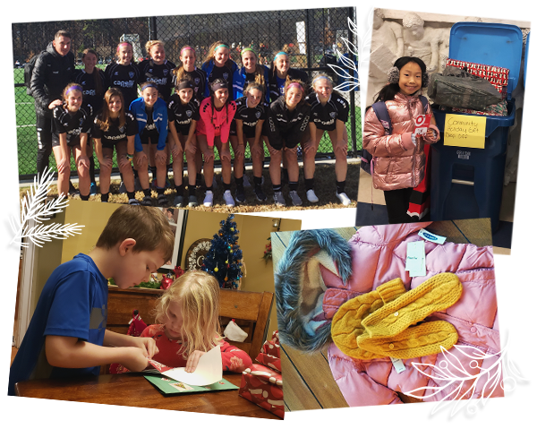 Collage of children donating, on a sports team, and writing cards to people