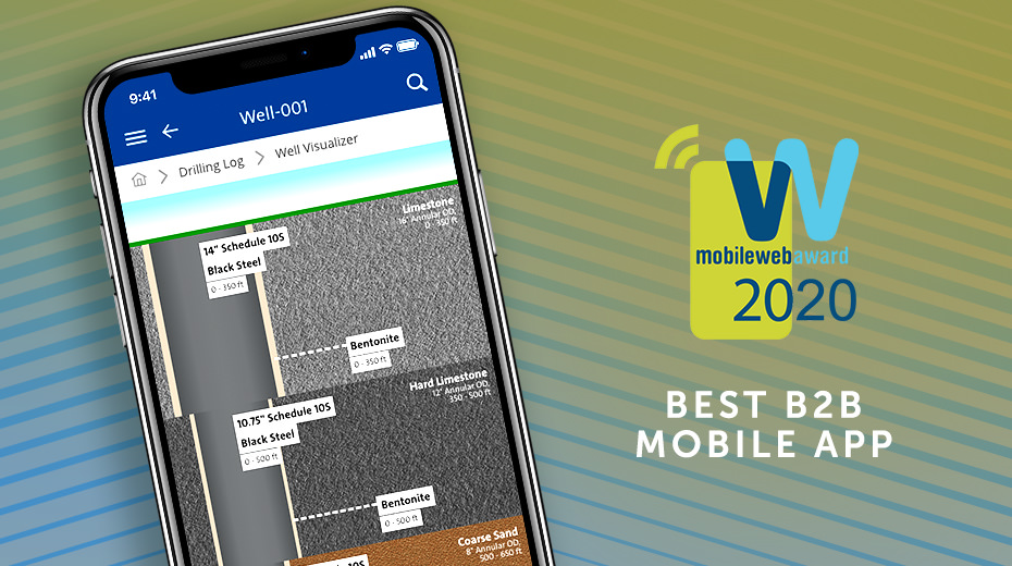 """mobile phone with wellconnect, showing well diagram breakdown next to MobileWebAward 2020 logo and text saying """"Best B2B Mobile App"""""""