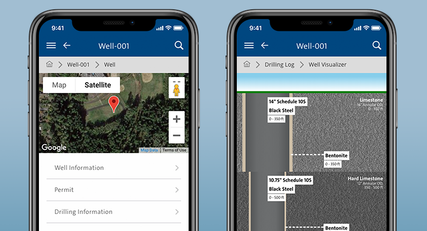 app screenshots of wellconnect showing a well project and well diagram breakdown