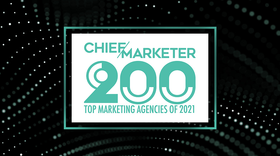 chief marketer 200 logo on background of dots in wave pattern
