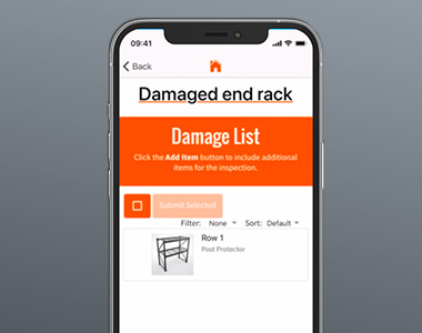 mobile phone with a screenshot of damaged end rack app on screen