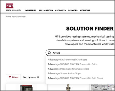 screenshot of mts website solution finder search bar