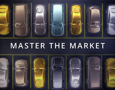 illustrated line of cars in parking spots and a title that says master the market