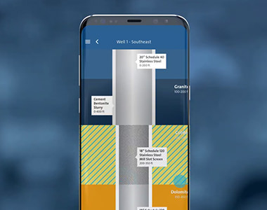 App screenshot of wellconnect, showing a breakdown of a well diagram