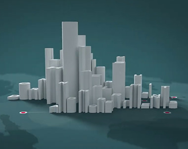 video still showing letters in 3d making up a city skyline
