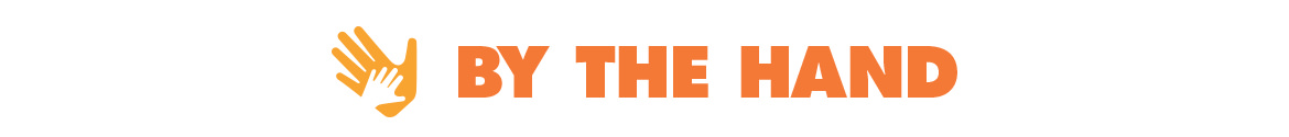 """The orange logo for By The Hand Club For Kids featuring a large, adult hand holding a smaller hand followed by the words, """"By The Hand."""""""