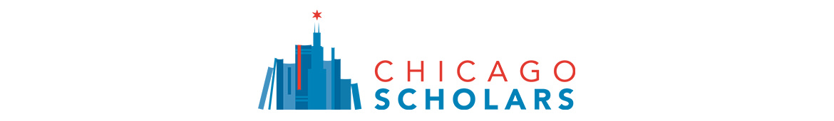 """The Chicago Scholars logo depicting a small, blue outline of the Chicago skyline made up of books with the words """"Chicago Scholars"""" in red and blue next to it."""