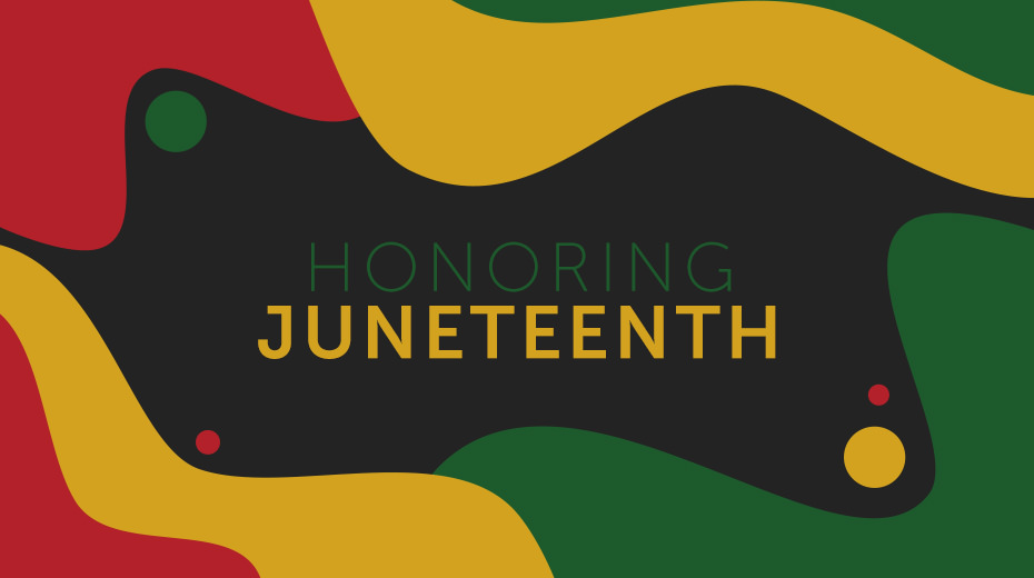 """The words, """"Honoring Junetheenth"""" displayed on top of the background with a melted color collage of black, yellow, green, and red."""