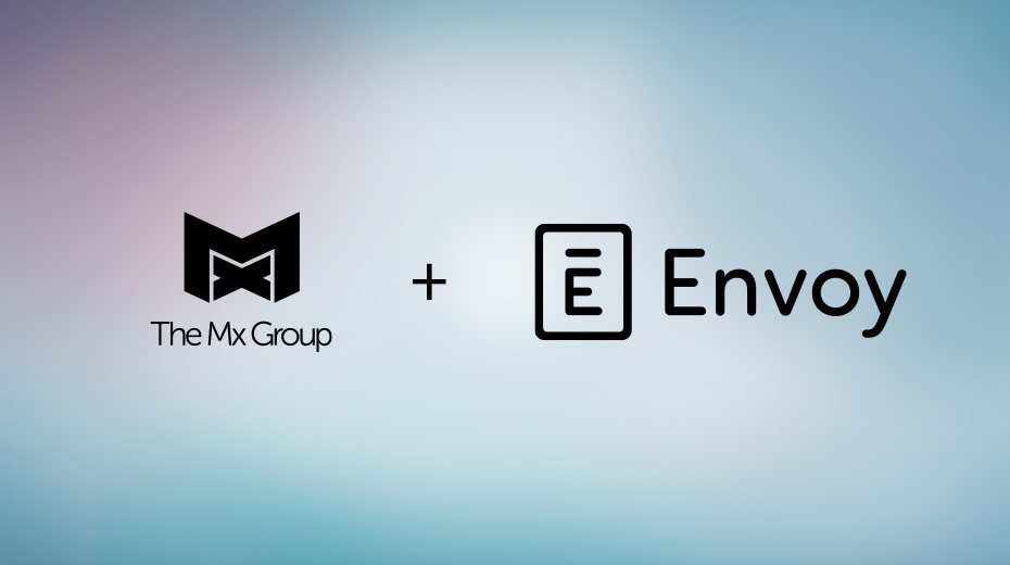 The Mx Group and Envoy logo on gradient background