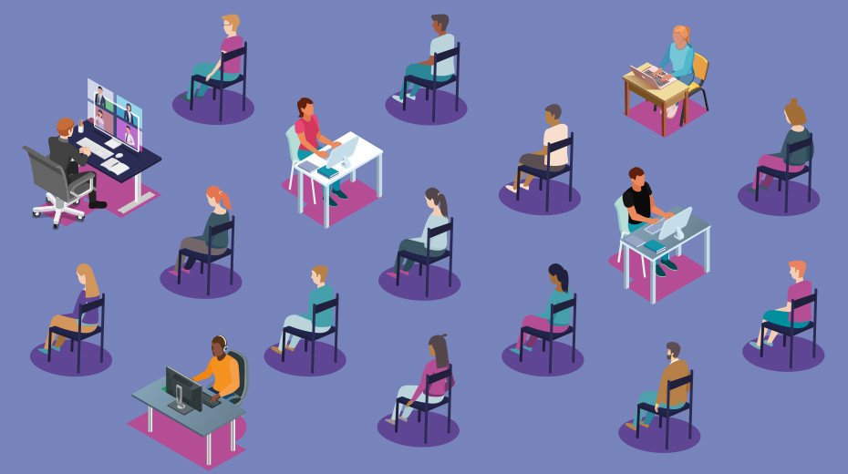 Illustration of people at desks and sitting in chairs in a hybrid event