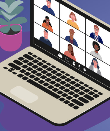 illustration of computer with a team video call on screen
