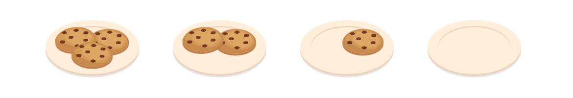 illustrated plate of cookies repeated until there are no cookies left on plate
