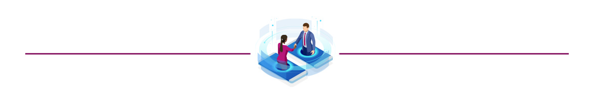 Illustration of two people connecting virtually shaking hands as they come out of mobile phones