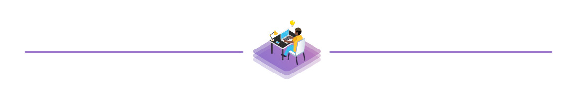 Illustration of person at desk working on a computer