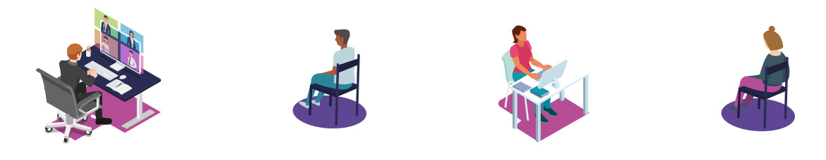 row of illustrated people sitting in chairs