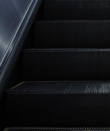 Dark close up of escalator steps